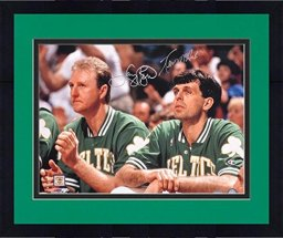 Framed Larry Bird/Kevin McHale Autographed Bench Photograph